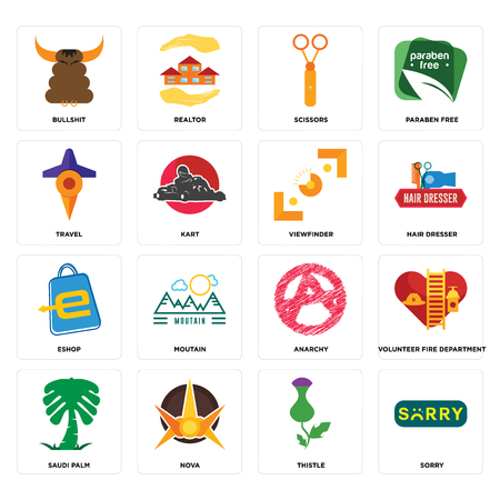 Set Of 16 simple editable icons such as sorry, thistle, nova, saudi palm, volunteer fire department, bullshit, travel, eshop, viewfinder can be used for mobile, web UI Illustration