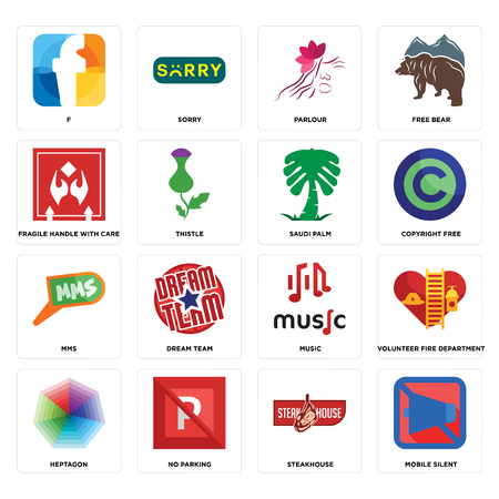 Set Of 16 simple editable icons such as mobile silent, steakhouse, no parking, heptagon, volunteer fire department, f, fragile handle with care, mms, saudi palm can be used for mobile, web UI