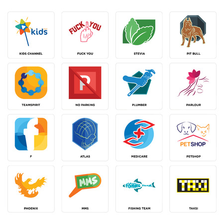 Set Of 16 simple editable icons such as taksi, fishing team, mms, phoenix, petshop, kids channel, teamspirit, f, plumber can be used for mobile, web UI