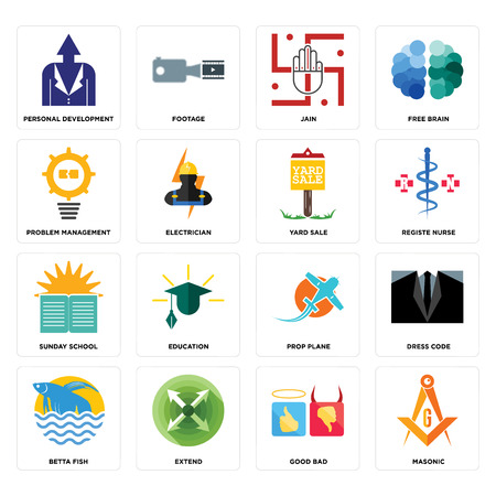 Set Of 16 simple editable icons such as masonic, good bad, extend, betta fish, dress code, personal development, problem management, sunday school, yard sale can be used for mobile, web UI