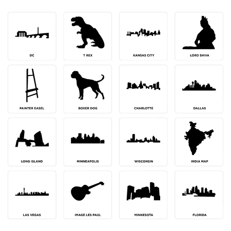 Set Of 16 simple editable icons such as florida, minnesota, image les paul, las vegas, india map, dc, painter easel, long island, charlotte can be used for mobile, web UI Ilustração