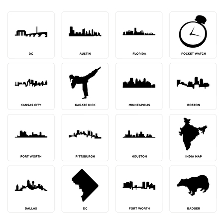 Set Of 16 simple editable icons such as badger, fort worth, dc, dallas, india map, kansas city, minneapolis can be used for mobile, web UI