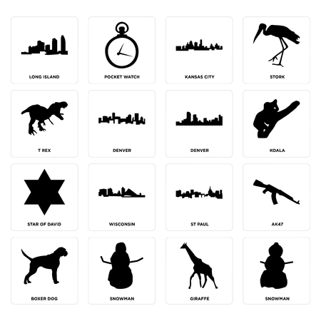 Set Of 16 simple editable icons such as snowman, giraffe, boxer dog, ak47, long island, t rex, star of david, denver can be used for mobile, web UI