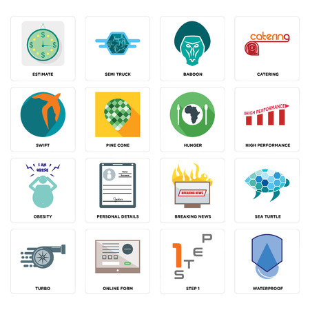 Set Of 16 simple editable icons such as waterproof, step 1, online form, turbo, sea turtle, estimate, swift, obesity, hunger can be used for mobile, web UI