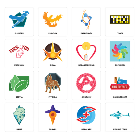 Set Of 16 simple editable icons such as fishing team, medicare, travel, rams, hair dresser, plumber, fuck you, stevia, breastfeeding can be used for mobile, web UI