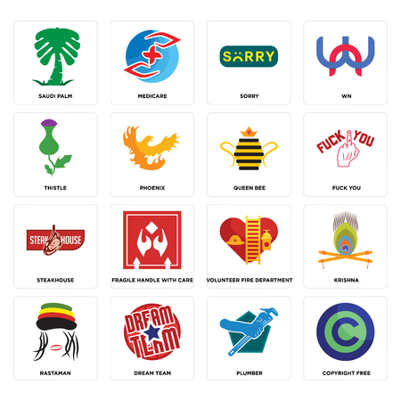 Set Of 16 simple editable icons such as copyright free, plumber, dream team, rastaman, krishna, saudi palm, thistle, steakhouse, queen bee can be used for mobile, web UI Illustration