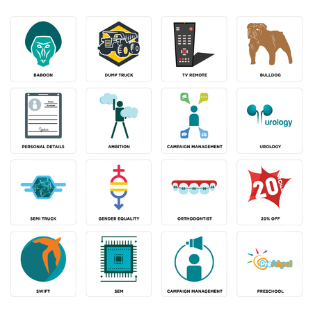 Set Of 16 simple editable icons such as preschool, campaign management, sem, swift, 20% off, baboon, personal details, semi truck, management can be used for mobile, web UI Illusztráció