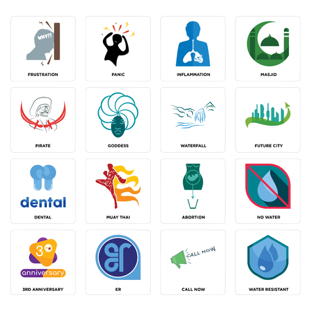 Set Of 16 simple editable icons such as water resistant, call now, er, 3rd anniversary, no water, frustration, pirate, dental, waterfall can be used for mobile, web UI