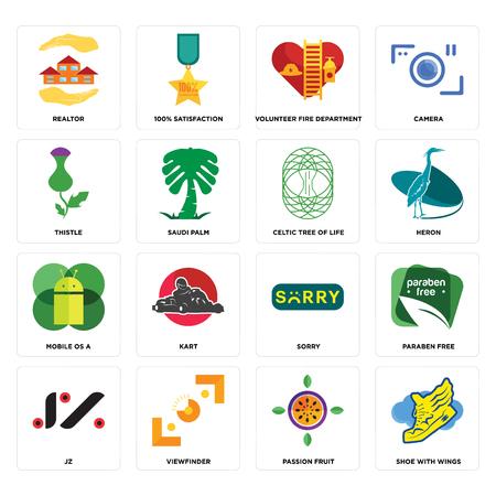 Conjunto de 16 iconos editables sencillos como zapato con alas, maracuyá, visor, jz, libre de parabenos, agente inmobiliario, cardo, sistema operativo móvil a, árbol de la vida celta puede utilizarse para móviles, la interfaz de usuario web