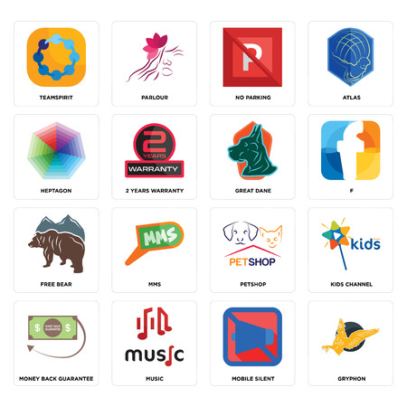 Set Of 16 simple editable icons such as gryphon, mobile silent, music, money back guarantee, kids channel, teamspirit, heptagon, free bear, great dane can be used for mobile, web UI Stock Vector - 102337970