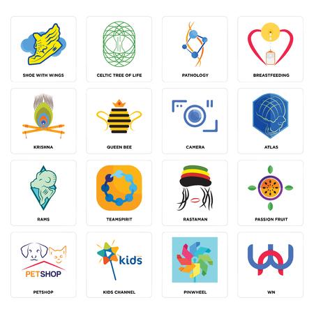 Conjunto de 16 iconos editables sencillos como wn, molinillo, canal para niños, tienda de mascotas, maracuyá, zapato con alas, krishna, carneros, la cámara puede utilizarse para móviles, la interfaz de usuario web
