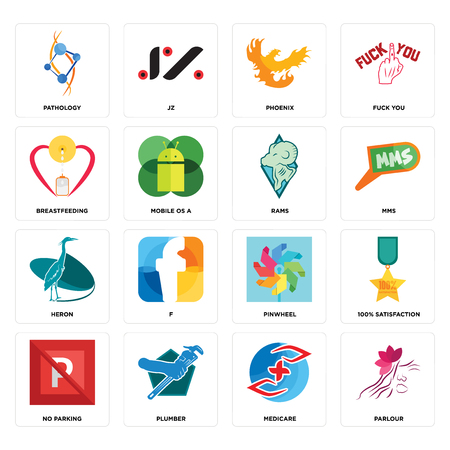 Set Of 16 simple editable icons such as parlour, medicare, plumber, no parking, 100% satisfaction, pathology, breastfeeding, heron, rams can be used for mobile, web UI Stock Vector - 102337972