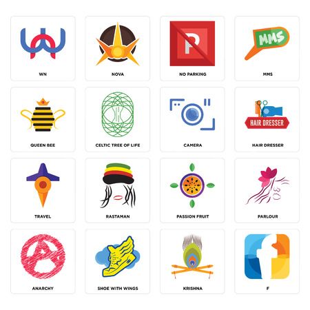 Set Of 16 simple editable icons such as f, krishna, shoe with wings, anarchy, parlour, wn, queen bee, travel, camera can be used for mobile, web UI Stock Vector - 102337974