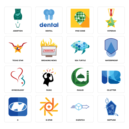 Set Of 16 simple editable icons such as neptune, dispatch, d-star, h, ib letter, abortion, texas star, gynecology, sea turtle can be used for mobile, web UI Vectores