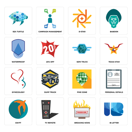 Set Of 16 simple editable icons such as ib letter, breaking news, tv remote, swift, personal details, sea turtle, waterproof, gynecology, semi truck can be used for mobile, web UI