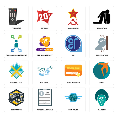 Set Of 16 simple editable icons such as baboon, semi truck, personal details, dump swift, tv remote, campaign management, crossed skis, er can be used for mobile, web UI Ilustração