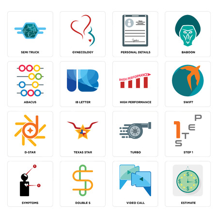 Set Of 16 simple editable icons such as estimate, video call, double s, symptoms, step 1, semi truck, abacus, d-star, high performance can be used for mobile, web UI Illusztráció