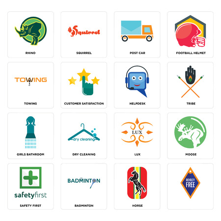 Set Of 16 simple editable icons such as, horse, badminton, safety first, moose, rhino, towing, girls bathroom, helpdesk can be used for mobile, web UI Illustration