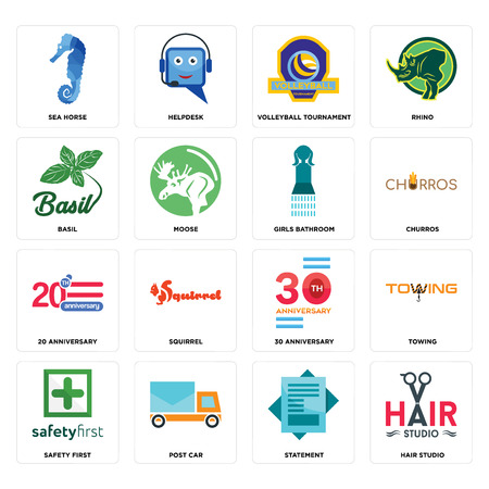 Set Of 16 simple editable icons such as hair studio, statement, post car, safety first, towing, sea horse, basil, 20 anniversary, girls bathroom can be used for mobile, web UI