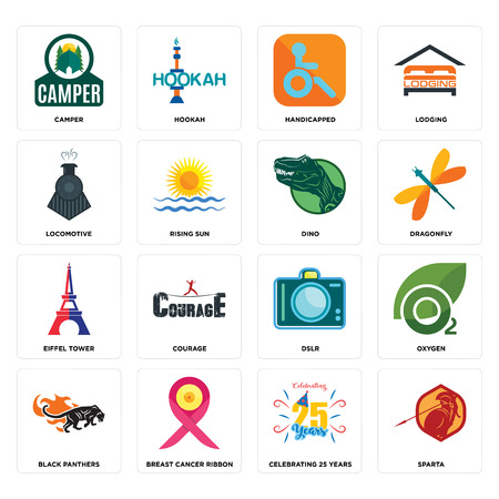 Set Of 16 simple editable icons such as sparta, celebrating 25 years, breast cancer ribbon, black panthers, oxygen, camper, locomotive, eiffel tower, dino can be used for mobile, web UI Ilustração
