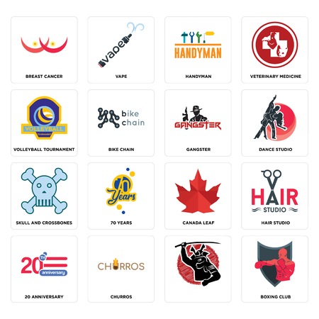 Set Of 16 simple editable icons such as boxing club, , churros, 20 anniversary, hair studio, breast cancer, volleyball tournament, skull and crossbones, gangster can be used for mobile, web UI