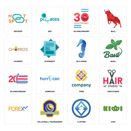Set Of 16 simple editable icons such as kiwi, 3 letter, volleyball tournament, , hair studio, hotspot, churros, 20 anniversary, sea horse can be used for mobile, web UI