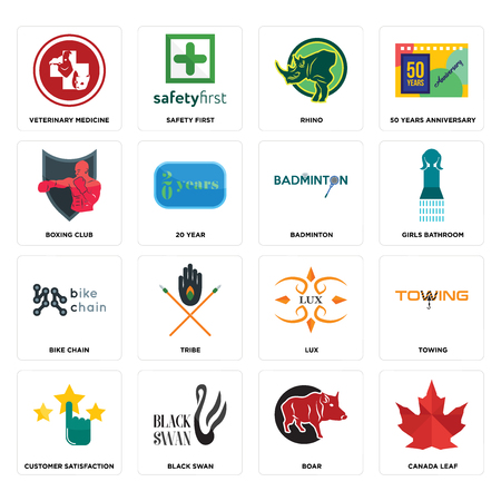 Set Of 16 simple editable icons such as canada leaf, boar, black swan, customer satisfaction, towing, veterinary medicine, boxing club, bike chain, badminton can be used for mobile, web UI