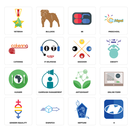 Set Of 16 simple editable icons such as h, neptune, dispatch, gender equality, online form, veteran, catering, hunger, snooker can be used for mobile, web UI