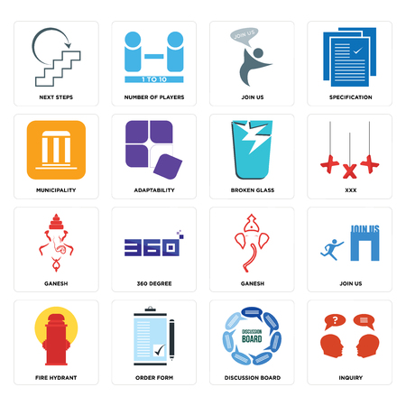 Set Of 16 simple editable icons such as inquiry, discussion board, order form, fire hydrant, join us, next steps, municipality, ganesh, broken glass can be used for mobile, web UI