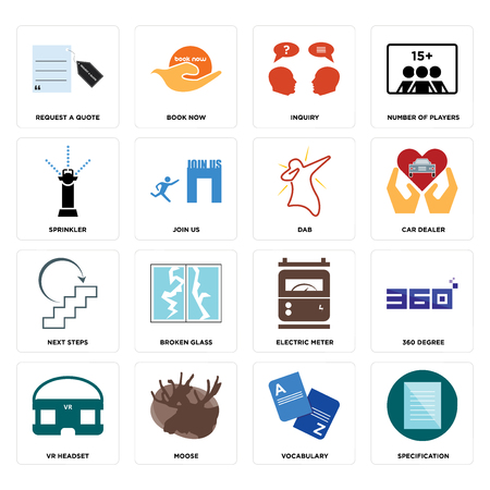 Set Of 16 simple editable icons such as specification, vocabulary, moose, vr headset, 360 degree, request a quote, sprinkler, next steps, dab can be used for mobile, web UI Ilustrace