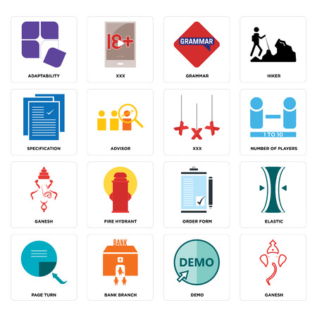 Set Of 16 simple editable icons such as ganesh, demo, bank branch, page turn, elastic, adaptability, specification, can be used for mobile, web UI
