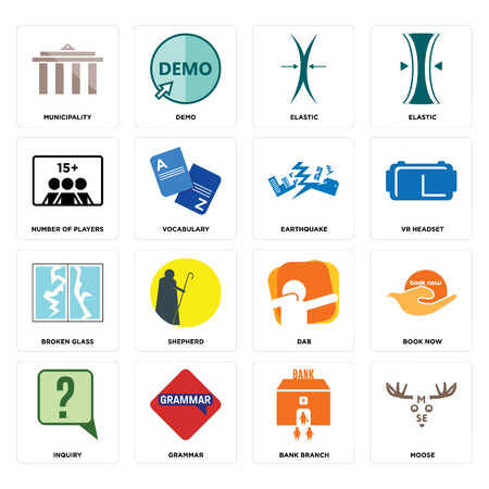 Set Of 16 simple editable icons such as moose, bank branch, grammar, inquiry, book now, municipality, number of players, broken glass, earthquake can be used for mobile, web UI Illustration