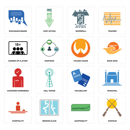 Set Of 16 simple editable icons such as shotgun, adaptability, discussion board, hospitality, municipal, vocabulary, cell tower, cost uction can be used for mobile, web UI