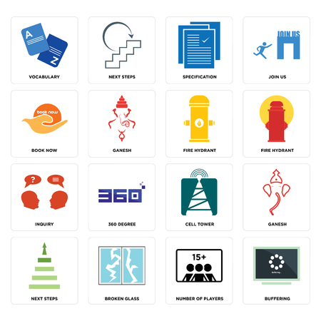 Set Of 16 simple editable icons such as buffering, number of players, broken glass, next steps, ganesh, vocabulary, book now, inquiry, fire hydrant can be used for mobile, web UI