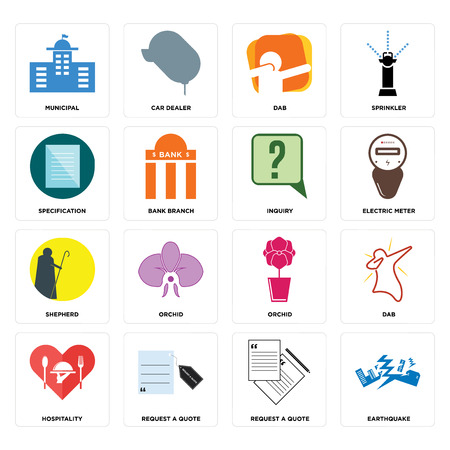 Set Of 16 simple editable icons such as earthquake, request a quote, hospitality, dab, municipal, specification, shepherd, inquiry can be used for mobile, web UI Ilustrace