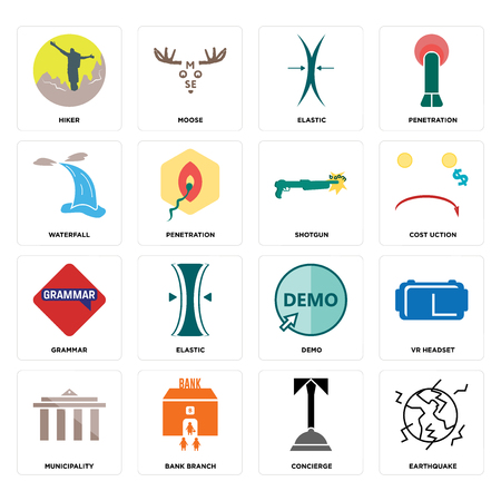 Set Of 16 simple editable icons such as earthquake, concierge, bank branch, municipality, vr headset, hiker, waterfall, grammar, shotgun can be used for mobile, web UI Illustration