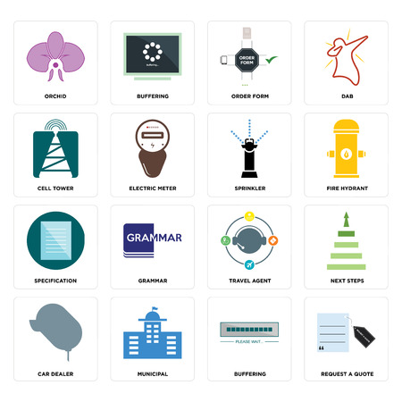Set Of 16 simple editable icons such as request a quote, buffering, municipal, car dealer, next steps, orchid, cell tower, specification, sprinkler can be used for mobile, web UI