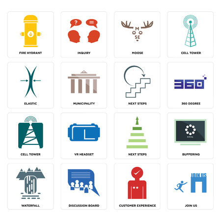 Set Of 16 simple editable icons such as join us, customer experience, discussion board, waterfall, buffering, fire hydrant, elastic, cell tower, next steps can be used for mobile, web UI
