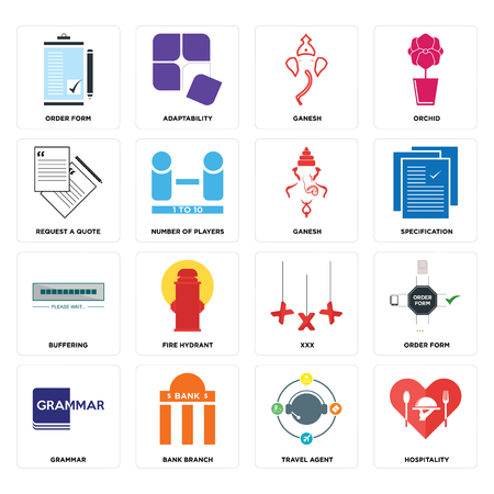 Set Of 16 simple editable icons such as hospitality, travel agent, bank branch, grammar, order form, request a quote, buffering, ganesh can be used for mobile, web UI