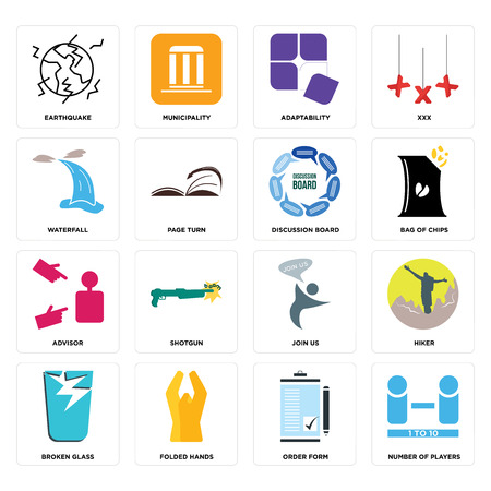 Set Of 16 simple editable icons such as number of players, order form, folded hands, broken glass, hiker, earthquake, waterfall, advisor, discussion board can be used for mobile, web UI 矢量图像