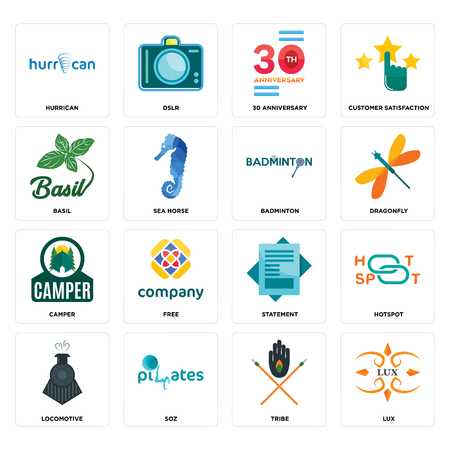 Set Of 16 simple editable icons such as lux, tribe, SOZ, locomotive, hotspot, hurrican, basil, camper, badminton can be used for mobile, web UI