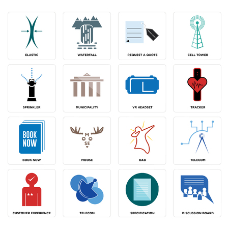 Set Of 16 simple editable icons such as discussion board, specification, telecom, customer experience, elastic, sprinkler, book now, vr headset can be used for mobile, web UI