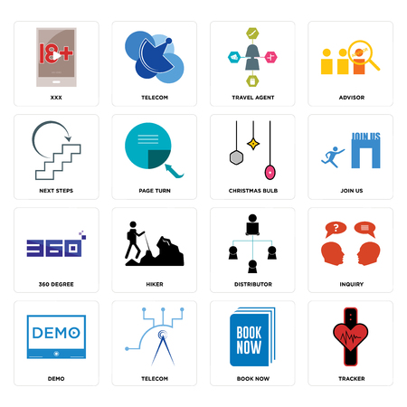 Set Of 16 simple editable icons such as tracker, book now, telecom, demo, inquiry, xxx, next steps, 360 degree, christmas bulb can be used for mobile, web UI 일러스트