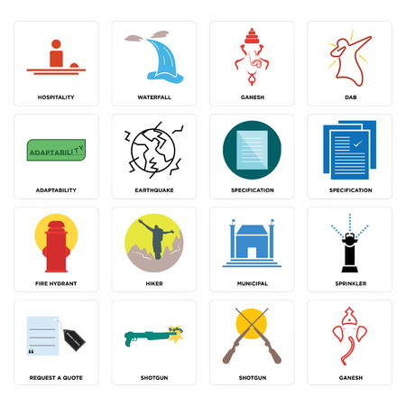 Set Of 16 simple editable icons such as ganesh, shotgun, request a quote, sprinkler, hospitality, adaptability, fire hydrant, specification can be used for mobile, web UI Ilustrace
