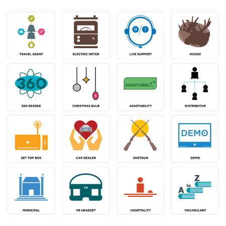 Set Of 16 simple editable icons such as vocabulary, hospitality, vr headset, municipal, demo, travel agent, 360 degree, set top box, adaptability can be used for mobile, web UI