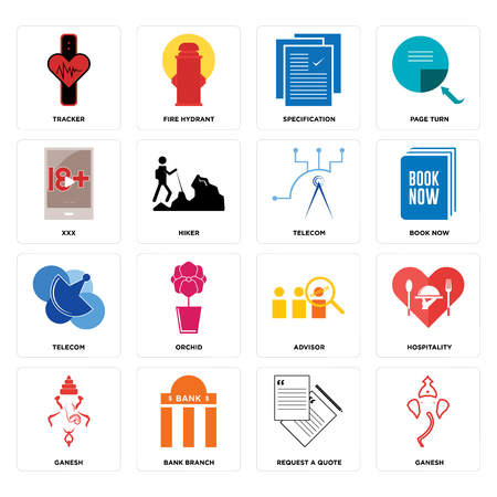Set Of 16 simple editable icons such as ganesh, request a quote, bank branch, hospitality, tracker, xxx, telecom, telecom can be used for mobile, web UI Ilustrace