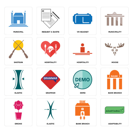 Set Of 16 simple editable icons such as adaptability, bank branch, elastic, orchid, municipal, shotgun, hospitality can be used for mobile, web UI