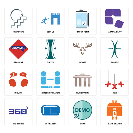 Set Of 16 simple editable icons such as bank branch, demo, vr headset, 360 degree, xxx, next steps, grammar, inquiry, moose can be used for mobile, web UI