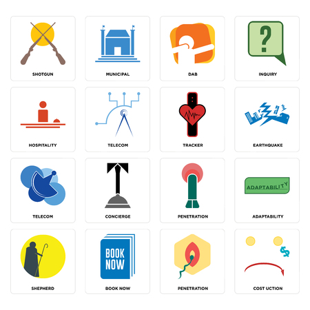 Set Of 16 simple editable icons such as cost uction, penetration, book now, shepherd, adaptability, shotgun, hospitality, telecom, tracker can be used for mobile, web UI