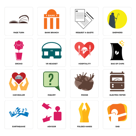 Set Of 16 simple editable icons such as dab, folded hands, advisor, earthquake, electric meter, page turn, orchid, car dealer, hospitality can be used for mobile, web UI